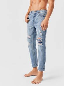 Men Button Front Ripped Jeans