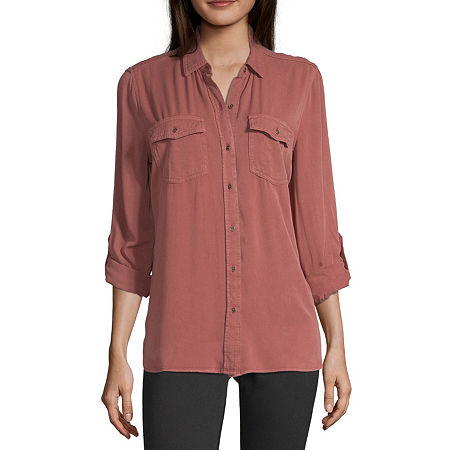 a.n.a Womens Long Sleeve Regular Fit Button-Down Shirt, X-small , Red