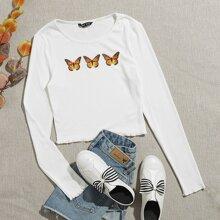 Strick T-Shirt mit Schmetterling Muster