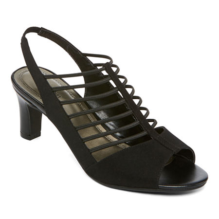 east 5th Womens Neville Heeled Sandals, 8 Medium, Black