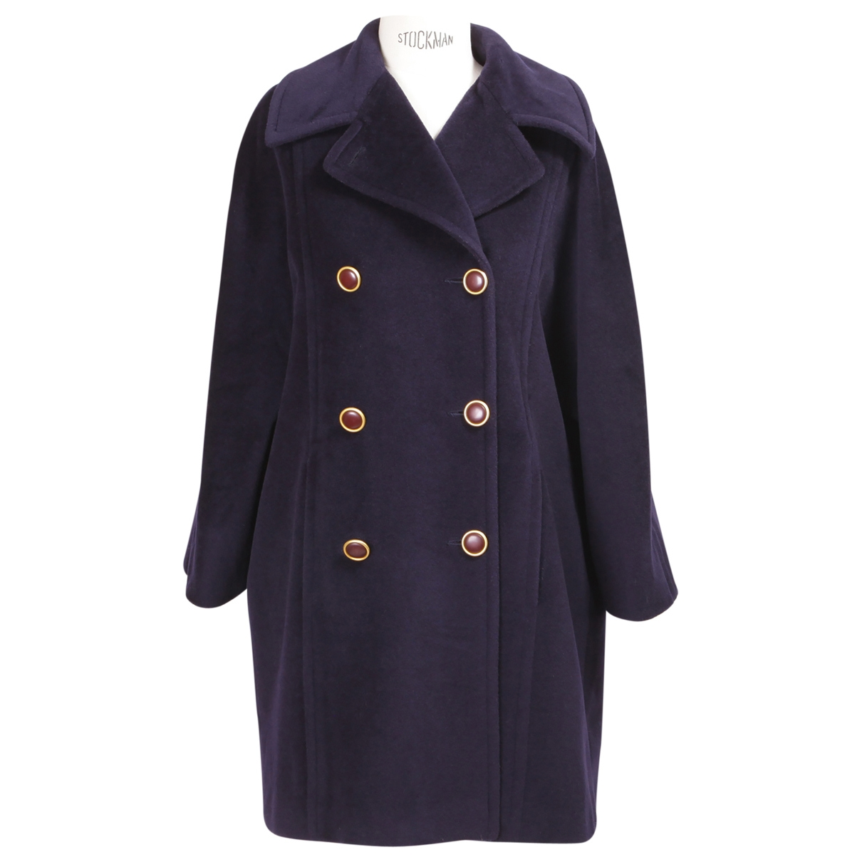 Non Signé / Unsigned \N Navy Wool coat for Women 40 FR