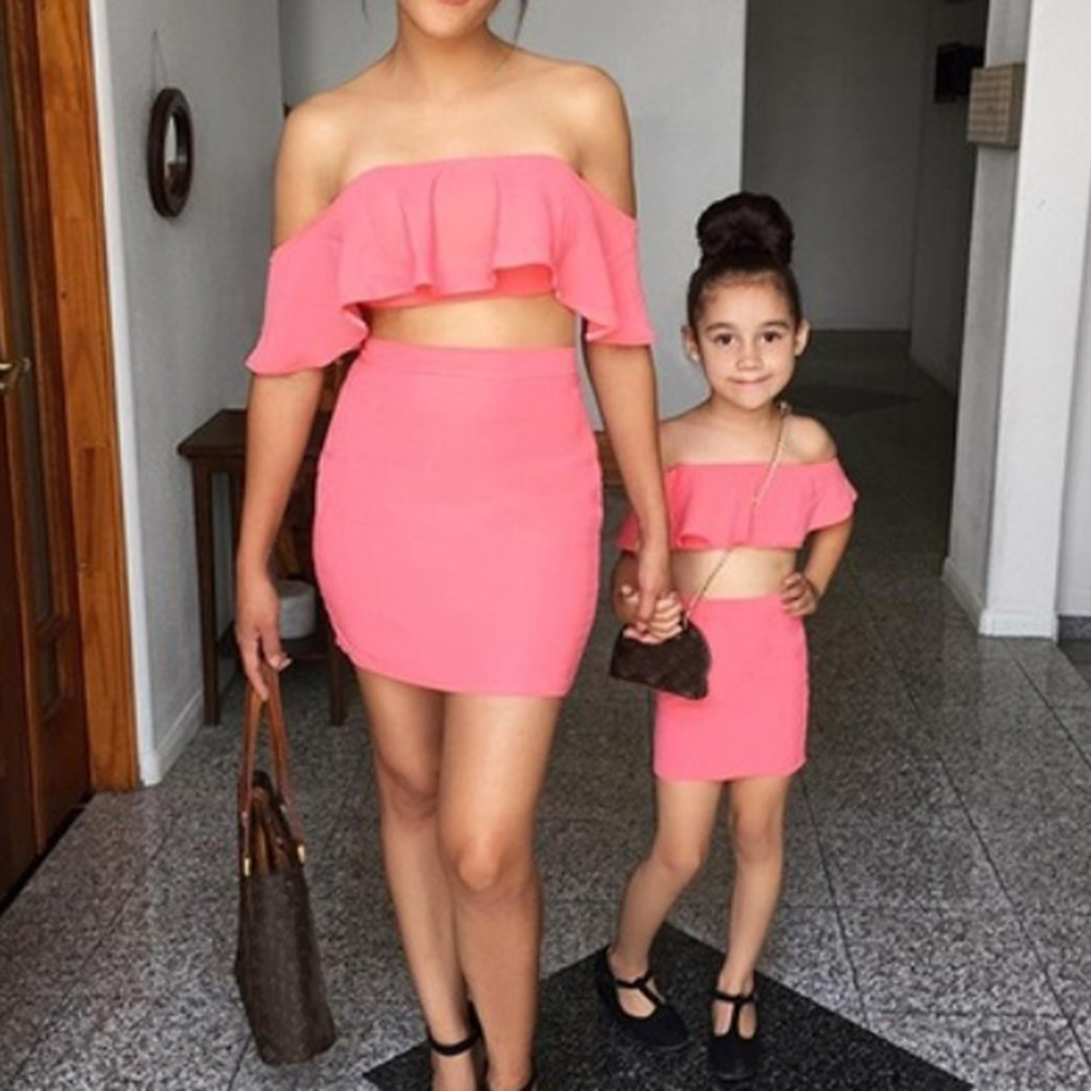 Mommy and Daughter Summer Family Clothing Mother Me Parent-Child Outfits That Show a Shoulder Skirt