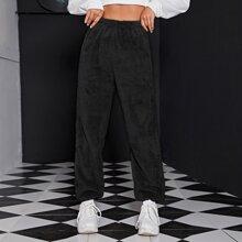 Pantalones teddy de cintura elastica