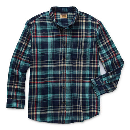 The Foundry Big & Tall Supply Co. Big and Tall Mens Long Sleeve Flannel Shirt, 5x-large , Blue