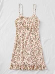 Ruffle Hem Ditsy Floral Print Cami Dress