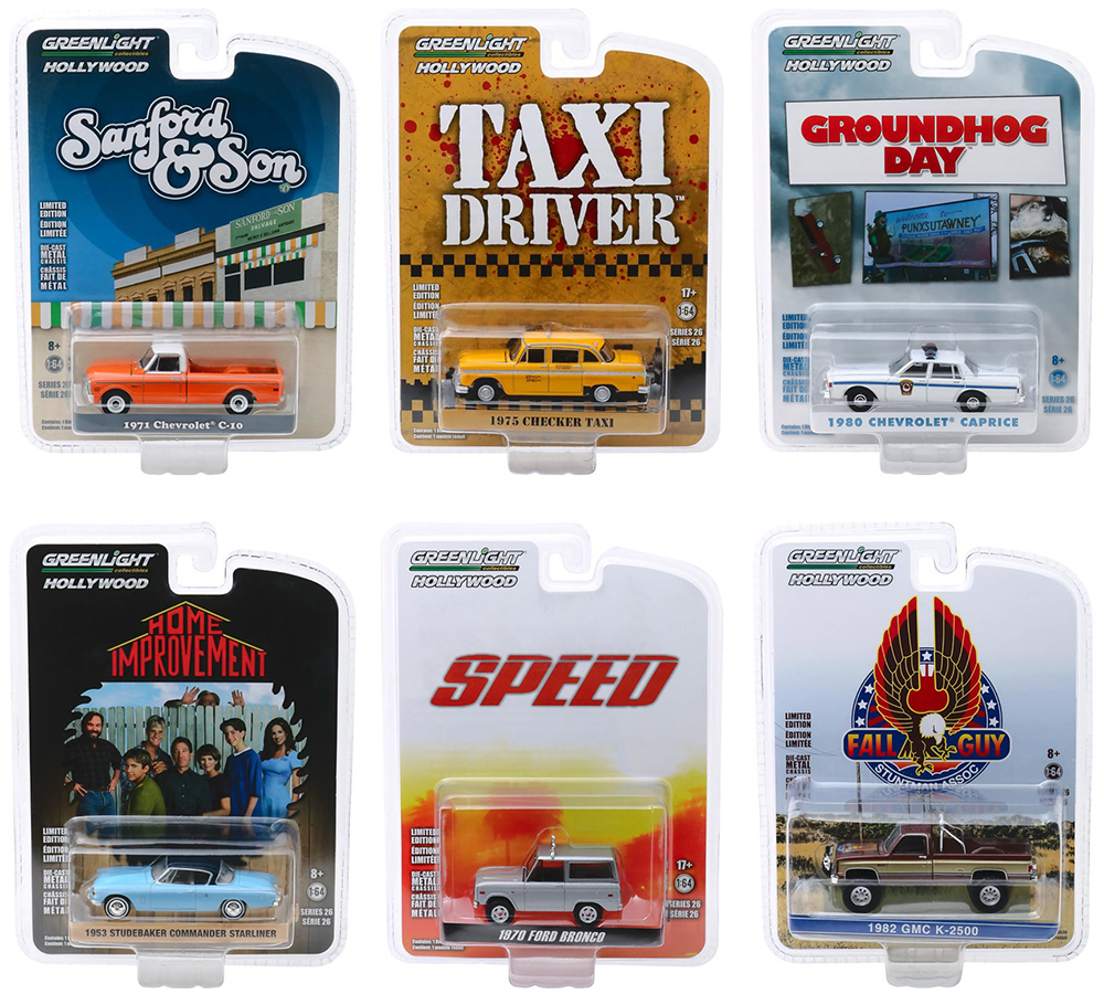Hollywood Series Release 26 Set of 6 pieces 1/64 Diecast Model Cars by Greenlight