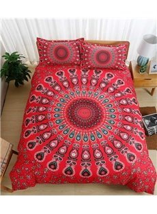 Moroccan Damask Medallion Print Red Polyester 3-Piece Bedding Sets/Duvet Cover