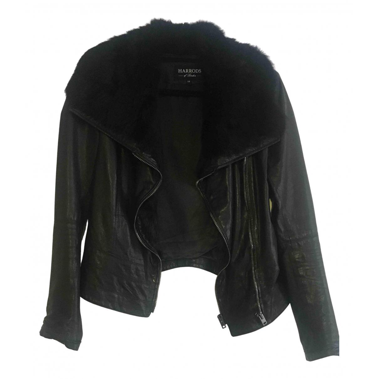 Harrods - Veste   pour femme en cuir - noir