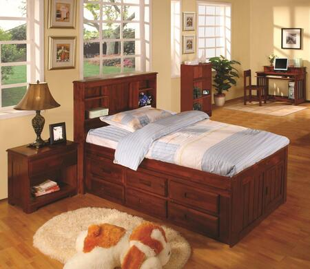 2820-TM_2893-M Twin Bookcase Bed With 6 Drawer Under Bed Storage in Merlot