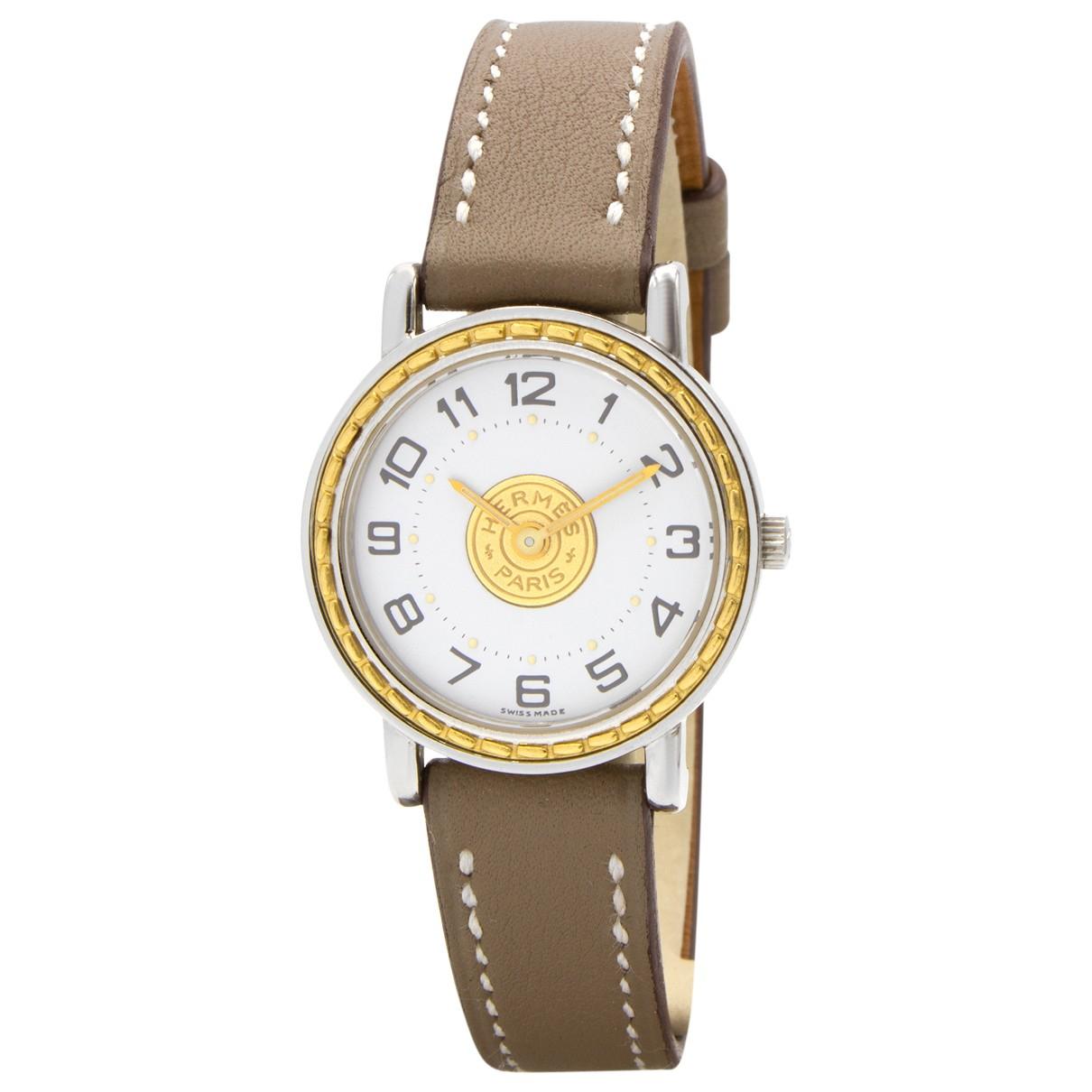 Hermes Sellier Uhr in  Silber Vergoldet