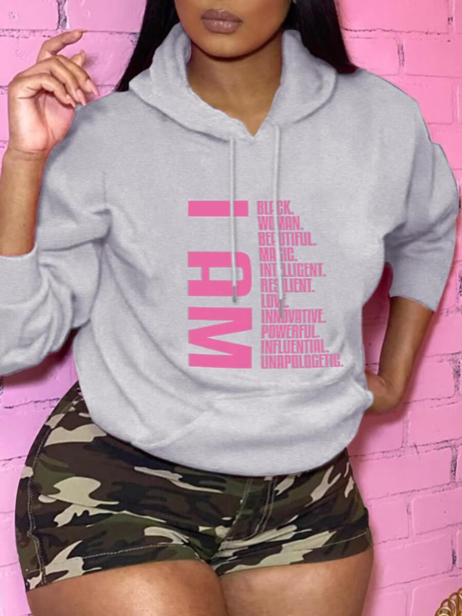 LW Lovely Leisure Hooded Collar Letter Print Grey Plus Size Hoodie