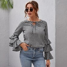 Tie Neck Layered Sleeve Gingham Top