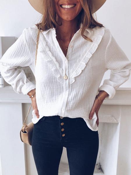 Milanoo Women White Blouse Turndown Collar Long Sleeve Ruffles Casual Shirts