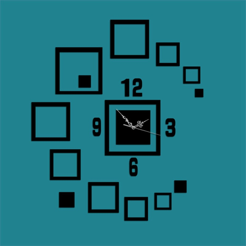 Creative Rectangle And Number Pattern 3 Color Simple Design 3D Acrylic Specular Mute Wall Clock