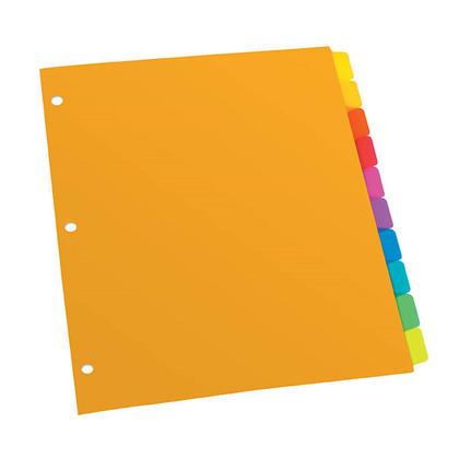 Oxford@ onglet plaine poly diviseurs 1-10 (10 onglets par ensemble), 1 ensemble par paquet 714642