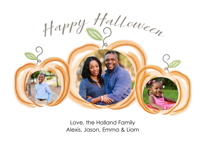 Halloween Photo Cards 5x7 Cards, Standard Cardstock 85lb, Card & Stationery -Watercolor Pumpkins