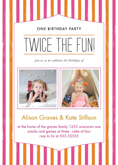 Kids Birthday Party Invites 5x7 Folded Cards, Standard Cardstock 85lb, Card & Stationery -Twice the Fun Joint Girl Striped Bday