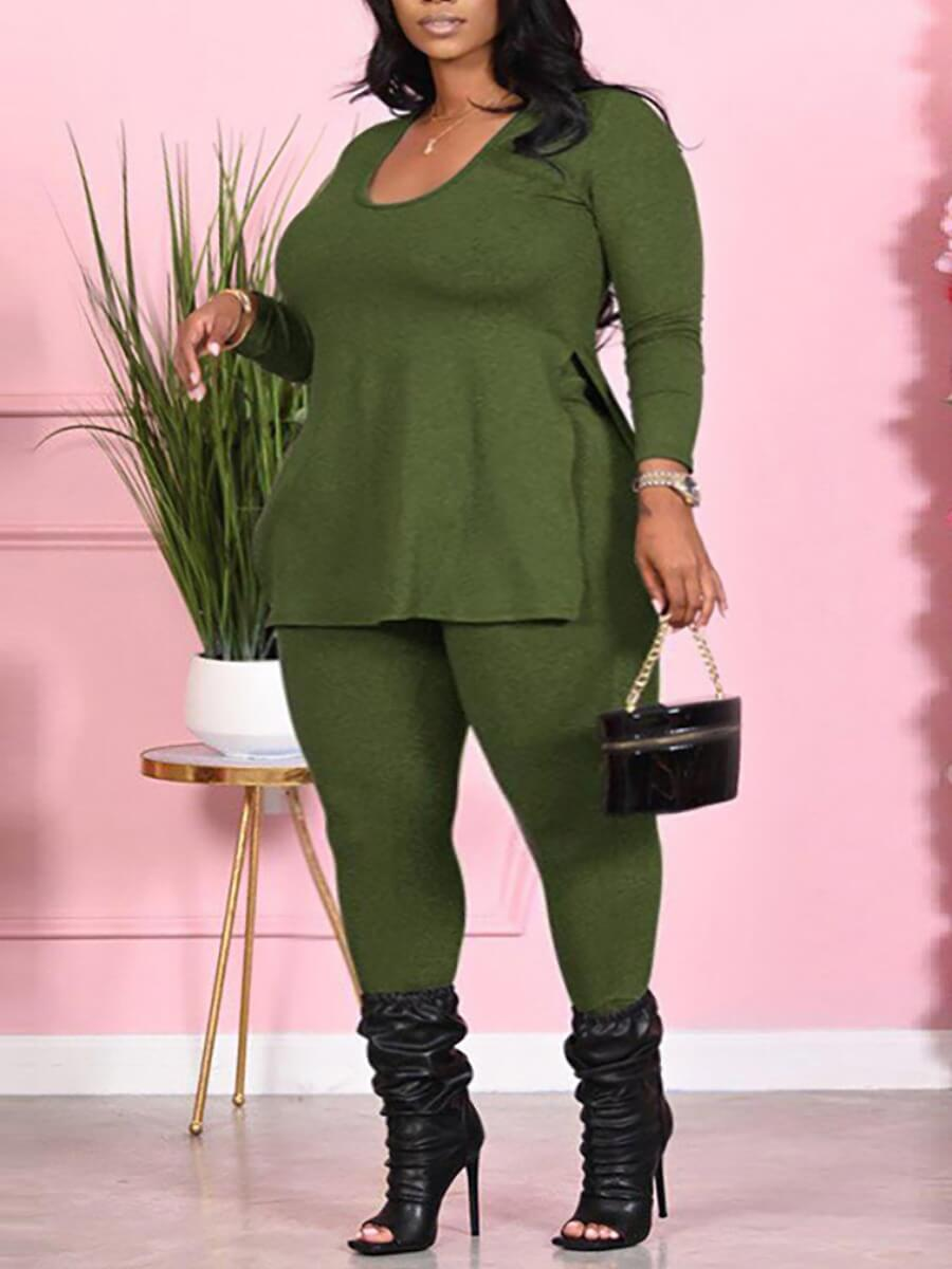 LW Lovely Casual V Neck Long Sleeve Green Plus Size Two-piece Pants Set