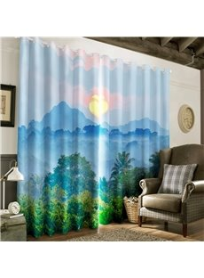 3D Rolling Mountains and Green Plants Printed 2 Panels Decorative and Blackout Curtain