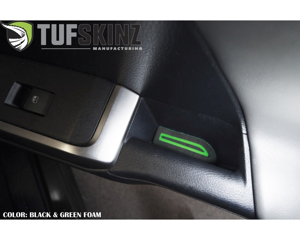 Tufskinz TAC057-FGN-X D-Cab Door Armrest Inserts Fits 2016-2020 Toyota Tacoma 4 Piece Kit In Black/Green