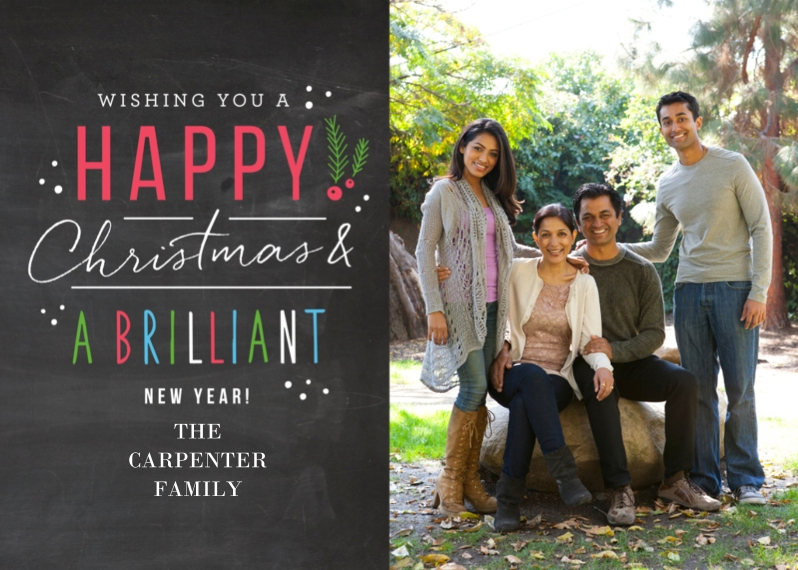 Christmas Photo Cards 5x7 Cards, Standard Cardstock 85lb, Card & Stationery -Happy Handwritten Brilliance