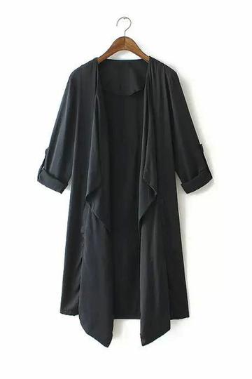 Yoins Black Sleeves Tab Draped Lapel Blazer Coat