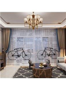 3D Period Style Vintage Bicycles and Newspaper Printed 2 Panels Custom Sheer
