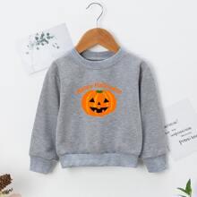 Toddler Boys Halloween And Slogan Print Sweatshirt
