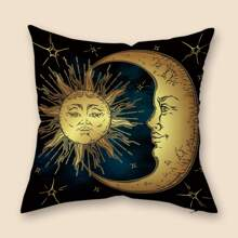 Sun & Moon Print Cushion Cover Without Filler