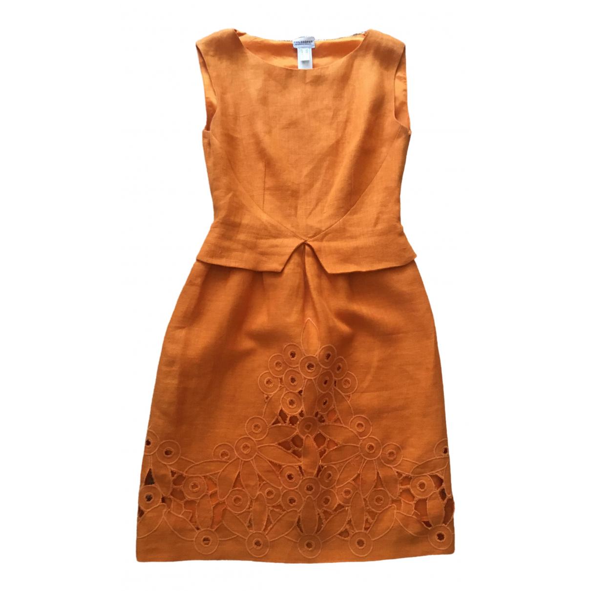 Philosophy Di Alberta Ferretti - Robe   pour femme en lin - orange