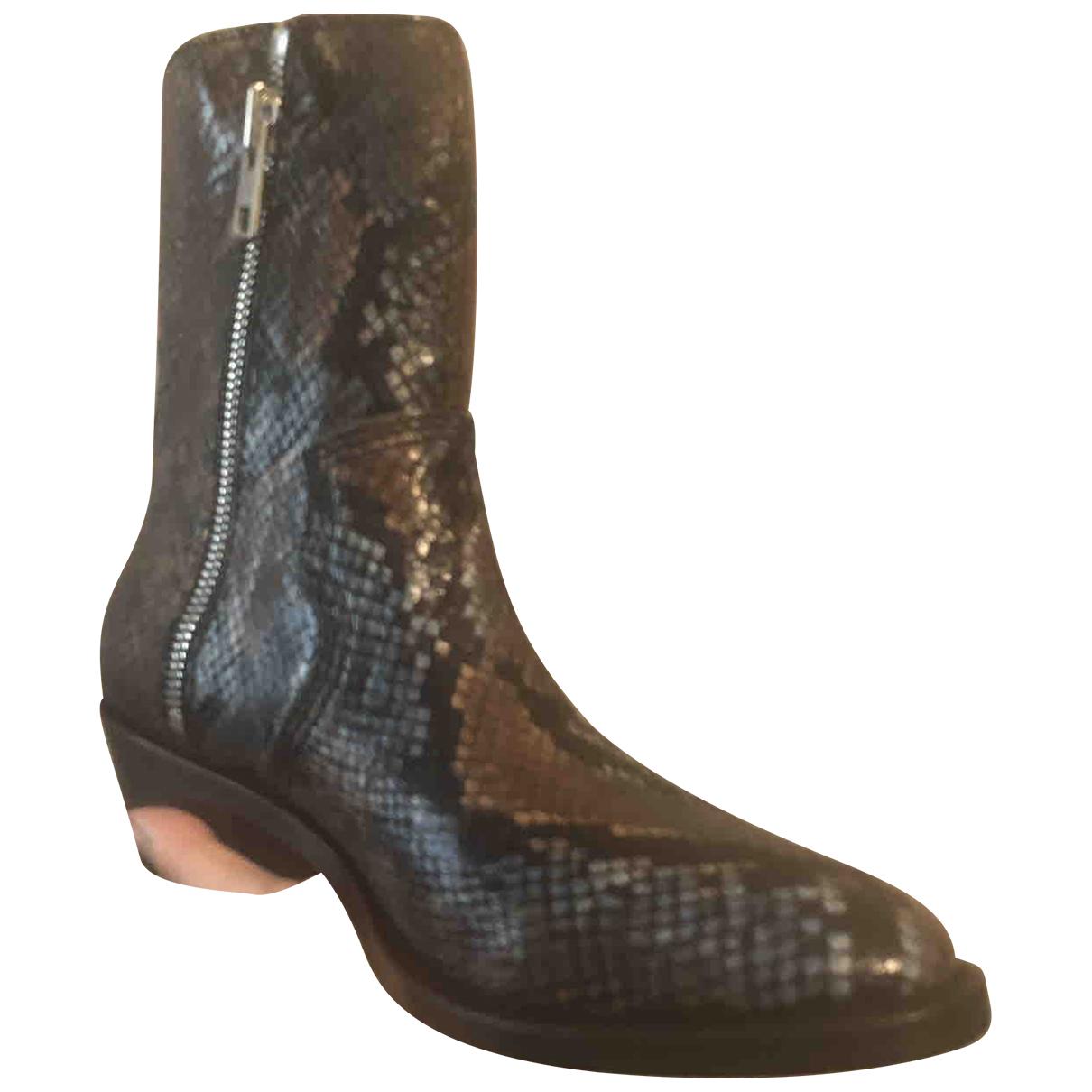 Zadig & Voltaire - Boots Pilar Brod pour femme en python - kaki
