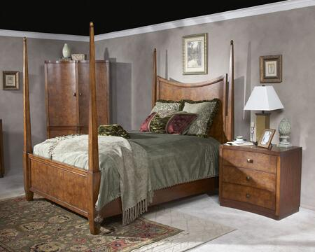 Bedroom Collection 9092108 King Poster Bed with in Chestnut Burl