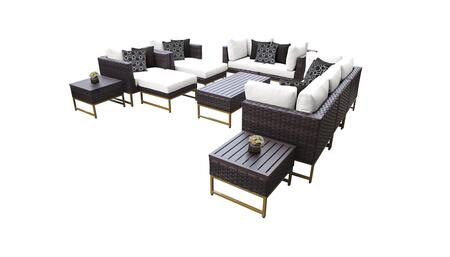 Barcelona BARCELONA-12h-GLD-WHITE 12-Piece Patio Set 12h with 4 Corner Chairs  2 Club Chairs  1 Armless Chair  1 Coffee Table  2 Ottomans  2 End