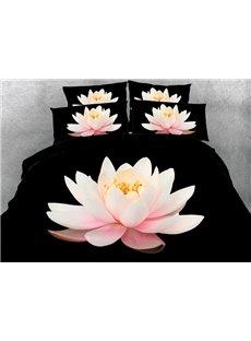 Pink Lotus Printed Cotton 4-Piece Black 3D Bedding Sets/Duvet Covers