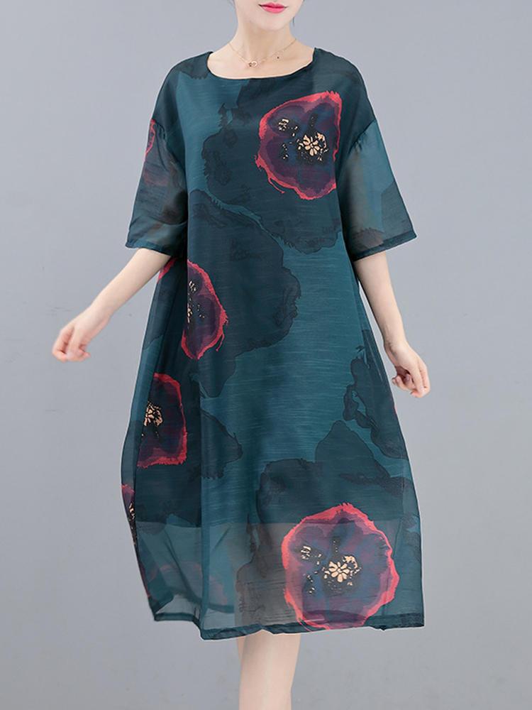 Elegant Women Half Sleeve O-neck Floral Print Dress