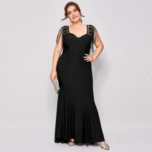Plus Contrast Lace Backless Mermaid Dress