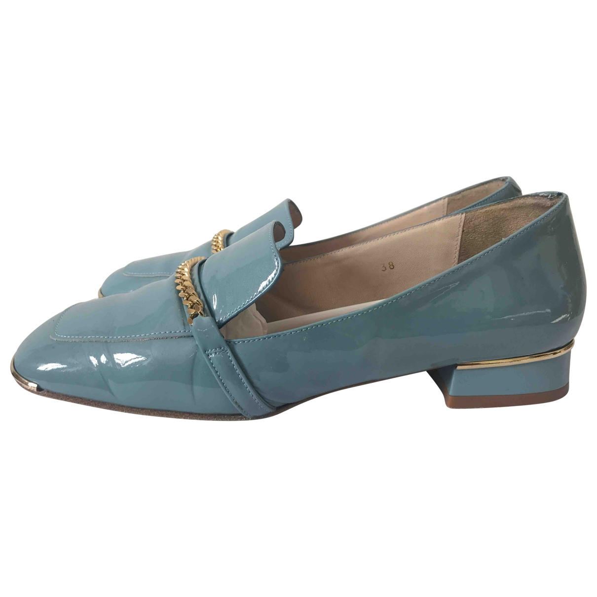Mellow Yellow \N Blue Patent leather Flats for Women 38 EU