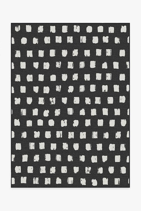 Washable Rug Cover | Outdoor Cobblestone Black Rug | Stain-Resistant | Ruggable | 5x7