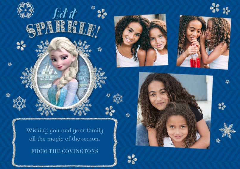 Christmas Photo Cards 5x7 Cards, Premium Cardstock 120lb with Rounded Corners, Card & Stationery -Disney Frozen Let It Sparkle