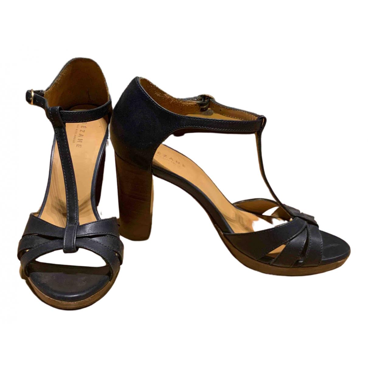 Sezane - Sandales   pour femme en cuir - marine