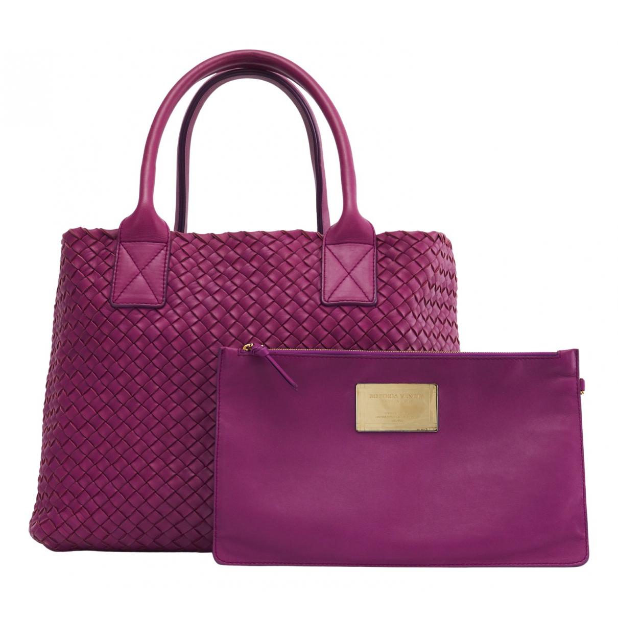 Bottega Veneta Cabat Purple Leather handbag for Women N