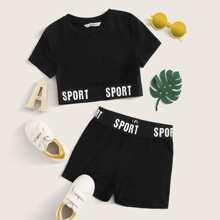 Girls Letter Tape Detail Tee and Biker Shorts Set