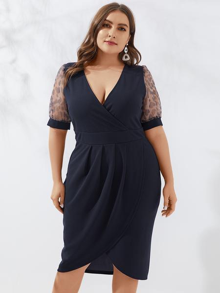 YOINS Plus Size Slit Design V-neck Short Sleeves Dress