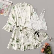 Set de lenceria fina con encaje floral con bata de saten tropical con cinturon