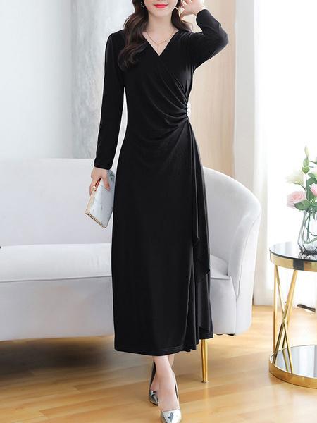 Milanoo Maxi vestidos de manga corta de la marina de guerra con cuello en V gasa Vestido wrap longitud de la rodilla