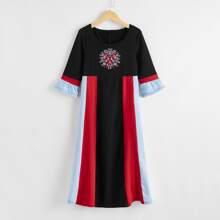 Girls Color-block Embroidery Flounce Sleeve Dress