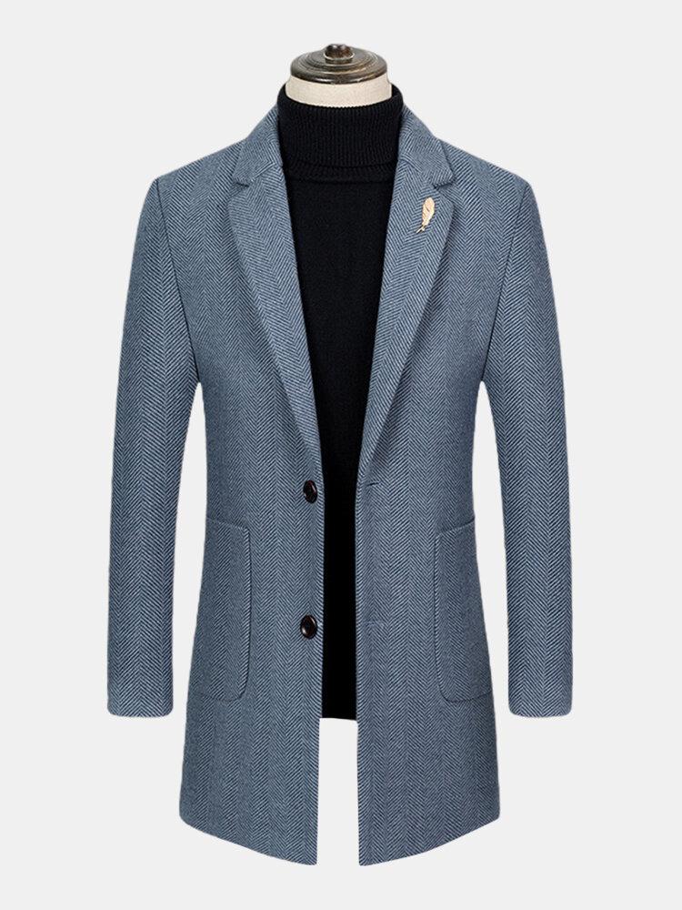 Mens Textured Woolen Button Up Business Casual Mid-Length Overcoats