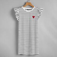 Kleid mit Herzen Muster, Raffung, Armloch und Streifen