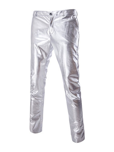 Milanoo Pantalones de hombre Pantalones ocasionales de metal con pierna pitillo dorada