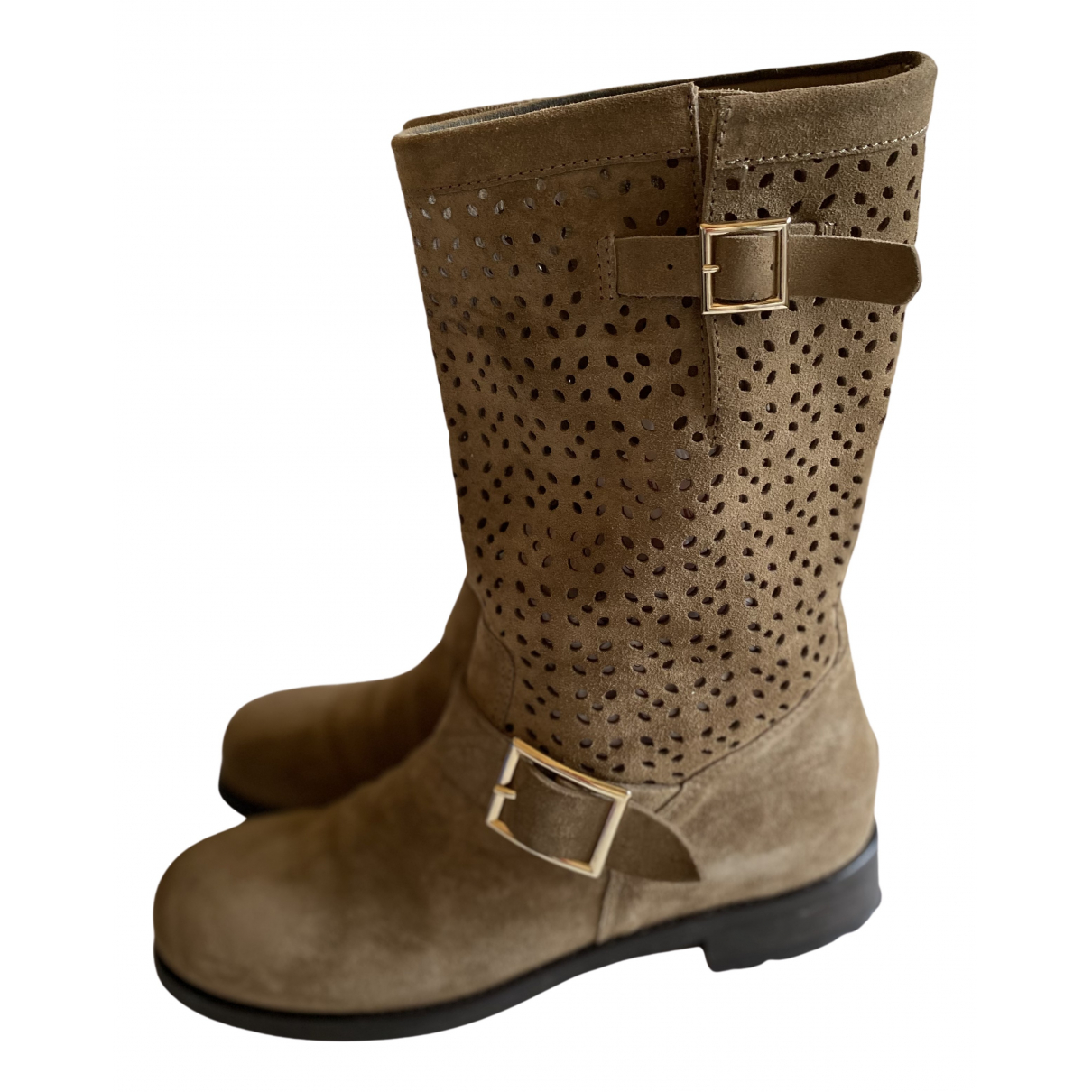 Jimmy Choo Youth Beige Suede Ankle boots for Women 40 EU